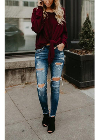 Burgundy Pleated Knot Round Neck Long Sleeve Slouchy Casual T-Shirt