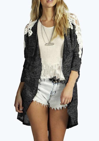 Drak Grey Patchwork Grenadine Cut Out Going Out Casual Cardigan Coat
