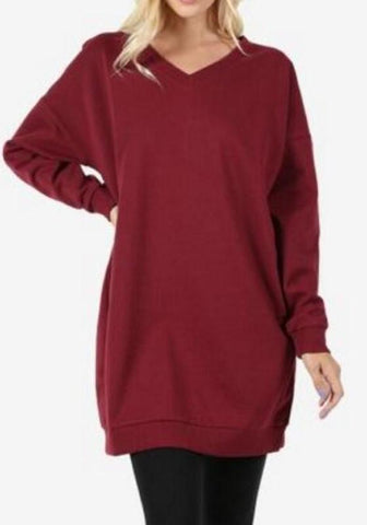 Burgundy Draped Pockets V-neck Long Sleeve Casual Sweatshirt