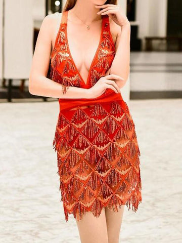 Red Tassel Sequin Cross Back Deep V-neck Sparkly Birthday Christmas Party Mini Dress
