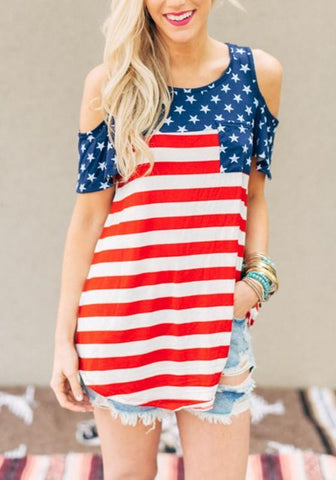 Blue American Flag Print Pockets Cut Out Sleeve Independence Day Casual T-Shirt