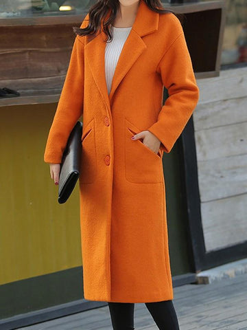 New Orange Pockets Turndown Collar Long Sleeve Elegant Coat