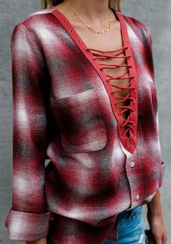 Red-White Plaid Pockets Cut Out Buttons Casual Going Out Blouse
