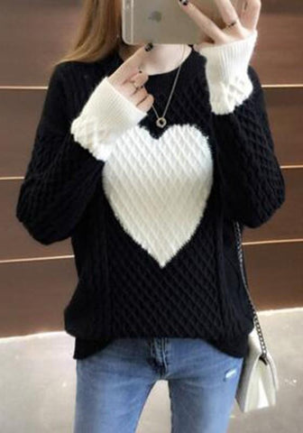Black Heart Print Round Neck Casual Going Out Pullover Sweater