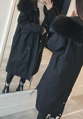 Black Pockets Drawstring Zipper Hooded Plunging Neckline Long Sleeve Coat