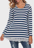 Blue-White Striped Print Lace Casual Going out T-Shirt