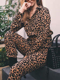New Brown Leopard Print Belt Buttons High Waisted Streetwear Nine's Jumpsuit