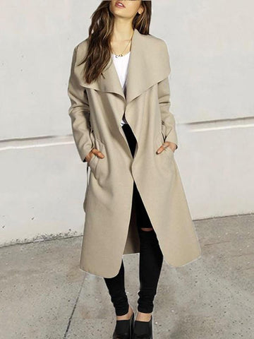 Khaki Pockets Sashes Turndown Collar Long Sleeve Elegant Coat