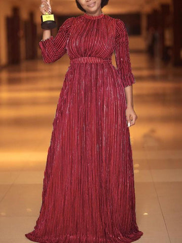 New Burgundy Pleated Long Sleeve Elegant Party Maxi Dress