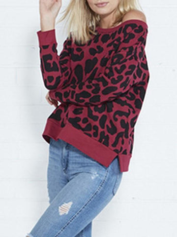 Claret Leopard Print Slit One-shoulder Round Neck Long Sleeve Sweatshirt