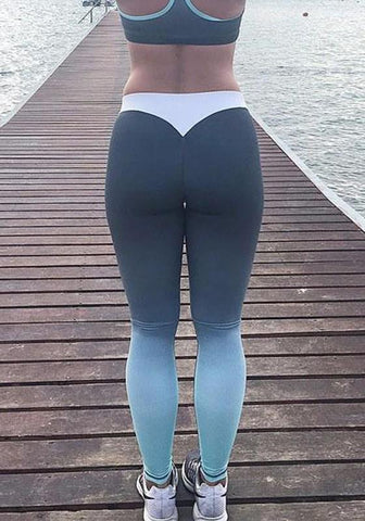 Black Blue Patchwork Sports Yoga High Waisted Long Legging
