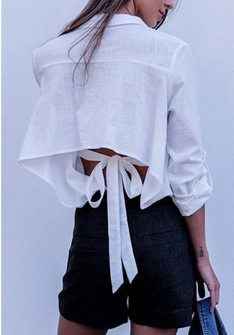 White Plain Cut Out Single Breasted Tie Back Turndown Collar Long Sleeve Blouse