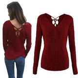 Red Cut Out V-neck Long Sleeve Fashion Pullover Sweater