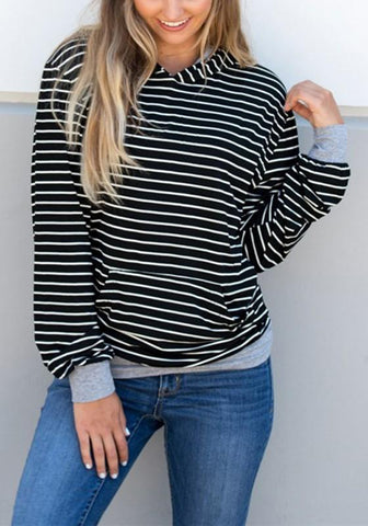 New Black-White Striped Pockets Long Sleeve Casual Hooded Sweatshirt
