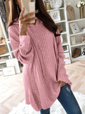 Pink Drawstring Long Sleeve Casual Polyester Pullover Sweater