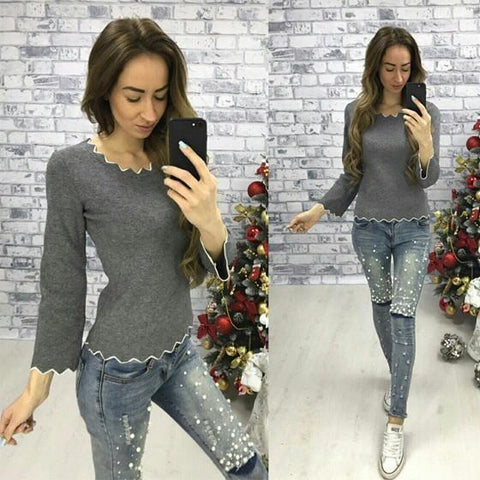 Grey Wavy Edge Round Neck Long Sleeve Fashion Pullover Sweater