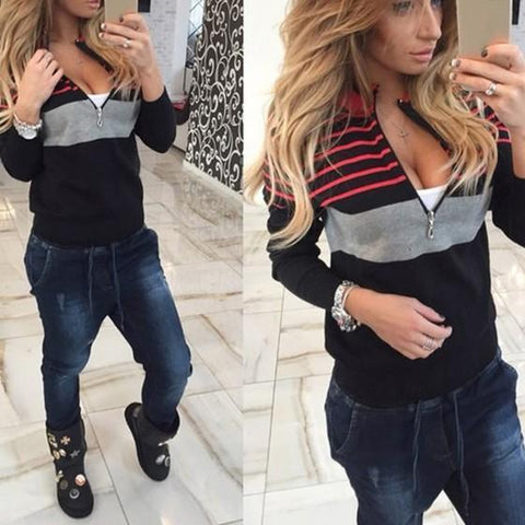 Black Striped Zipper Round Neck Fashion Pullover Sweater