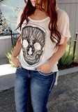 White Skull Irregular Round Neck Short Sleeve Casual T-Shirt