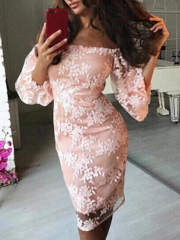 Pink Patchwork Lace Grenadine Boat Neck Long Sleeve Fashion Midi Dress