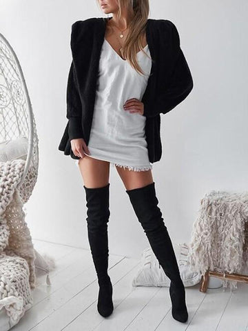 New Black Faux Fur Pockets Fuzzy Casual Turndown Collar Hooded Wool Coat