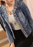 Blue Patchwork Rhinestone Zipper Round Neck Long Sleeve Fashion Coat
