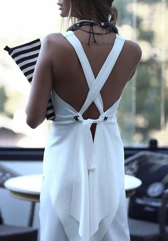White Irregular Tie Back Backless Round Neck Fashion Vest