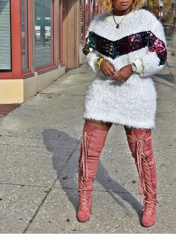 New White Patchwork Colorful Sequin Round Neck Faux Wool Teddy Fur Long Sleeve Above Knee Fashion Mini Dress