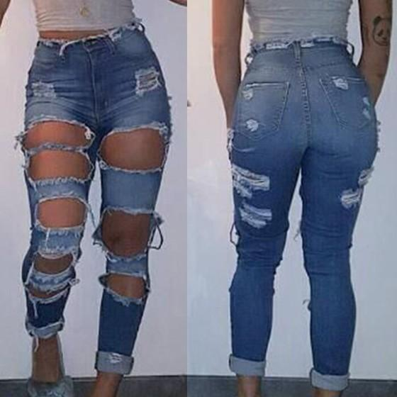 Light Blue Pockets Cut Out High Waisted Plus Size Ripped Long Girls Jeans