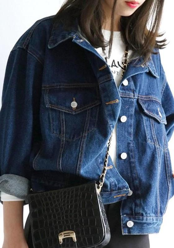 Dark Blue Pockets Turndown Collar Dolman Sleeve Boyfriend Denim Coat