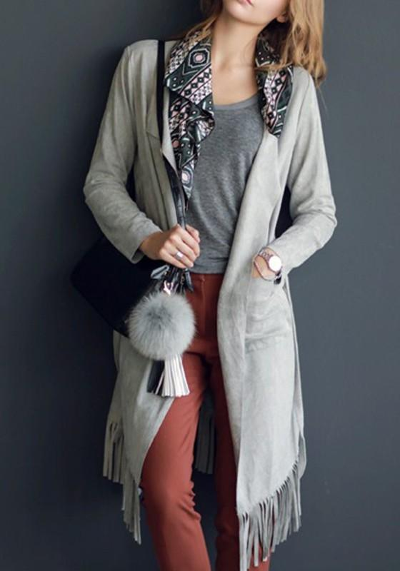 Light Grey Pockets Sashes Tassel Turndown Collar Long Sleeve Trench Coat