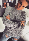 Grey Patchwork Round Neck Long Sleeve Casual Pullover Sweater