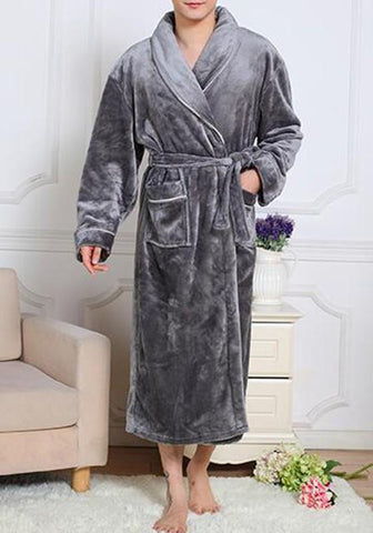 Grey Pockets Belt Fleece Bathrobe Lounge Wear Long Sleeve Casual Maxi Dress
