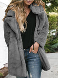 New Grey Pockets Turndown Collar Long Sleeve Casual Outerwear