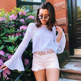White Cut Out Lace Long Sleeve Honey Girl T-shirt
