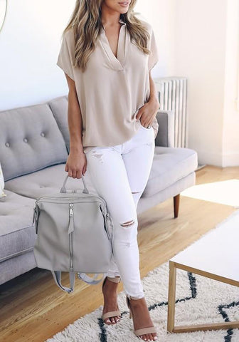 Beige Irregular High-low V-neck Short Sleeve Casual Going out Blouse