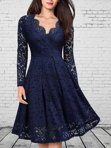 Navy Blue Patchwork Lace V-neck Party Midi Dress