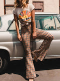 New Yellow Plaid Side Slits Casual High Waisted Bell Bottomed Flares Long Pant