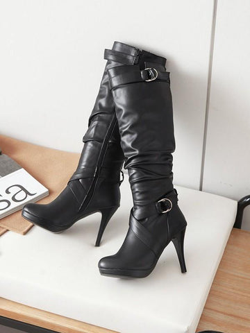 New Black Round Toe Stiletto Buckle Fashion Knee-High Boots