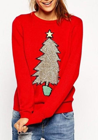 Red Christmas Tree Print Round Neck Long Sleeve Fashion Pullover Sweater