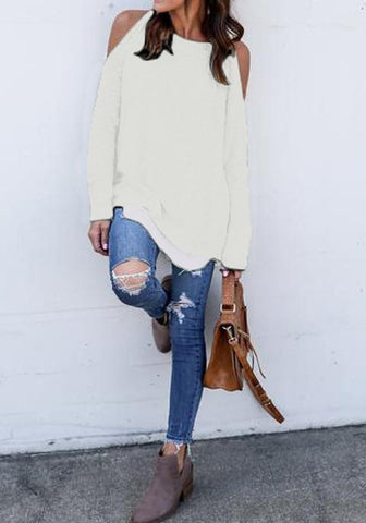 White Cut Out Round Neck Casual Pullover Sweater