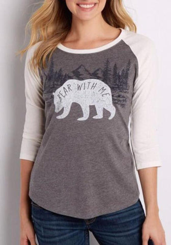 Grey Patchwork Bear Print Round Neck Long Sleeve Fashion T-Shirt