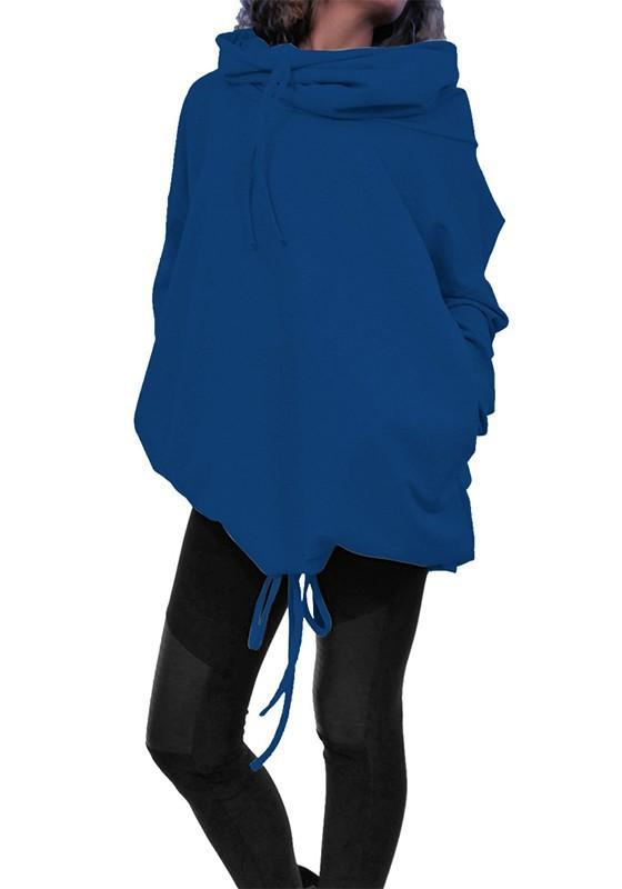 Blue Drawstring Pockets High Neck Casual Batwing Pullover Sweatshirt