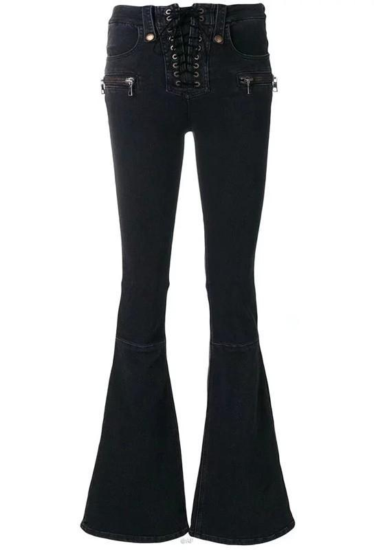 Black Zipper Pockets Lace-up Buttons High Waisted Mom Flare Long Flare Jeans