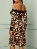 Brown Leopard Pattern Zipper Off Shoulder Backless Irregular Slit Bodycon Midi Dress