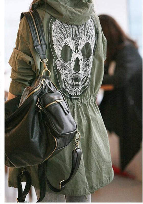 Army Green Skull Pockets Drawstring Hooded Casual Coat
