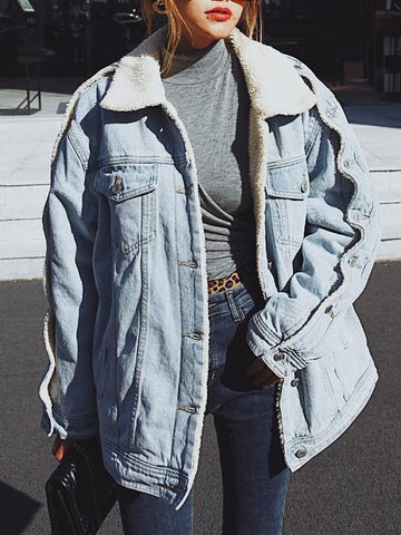 Blue Pockets Buttons Turndown Collar Long Sleeve Lambswool Oversize Jeans Coat