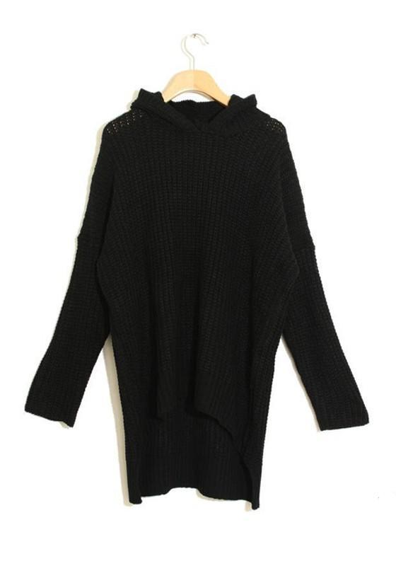 Black Hooded Dolman Batwing Long Sleeve Irregular Thick Knitted Jumper Sweater