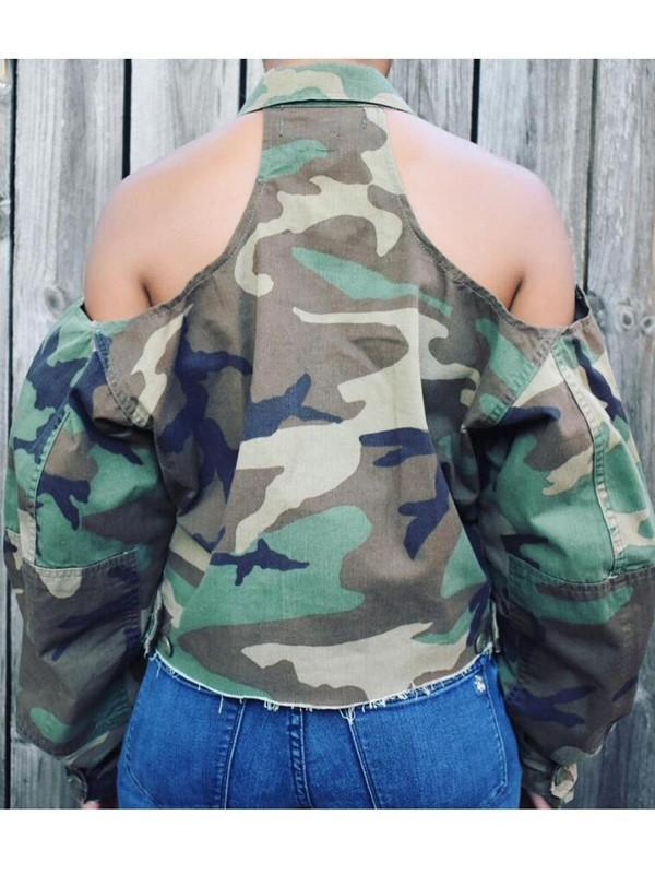 New Army Green Camouflage US Army Pattern Pockets Cut Out Casual Coat