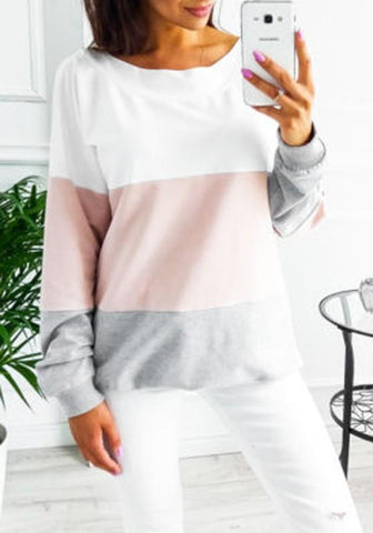 Pink Color Block Tie Back Round Neck Long Sleeve Casual T-Shirt