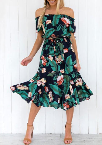 Green Floral Ruffle Print Beach Party Bohemian Midi Dress